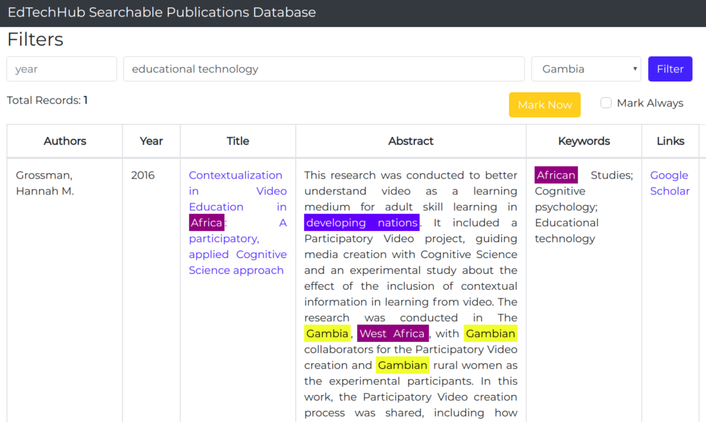 A screenshot of our searchable publications database.