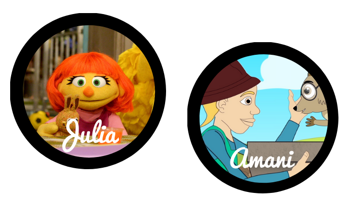 The characters Julie from Sesame Street and Amani from Ubongo Kids