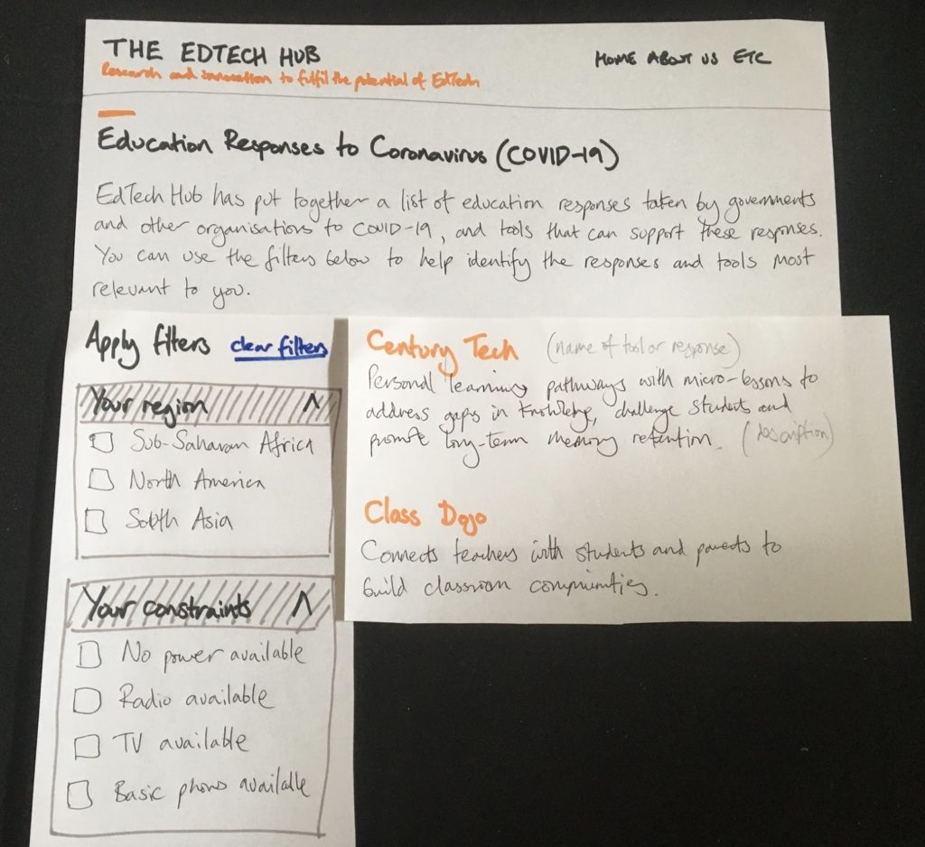 An early version paper prototype of the tool to help you find education responses by governments and EdTech tools.